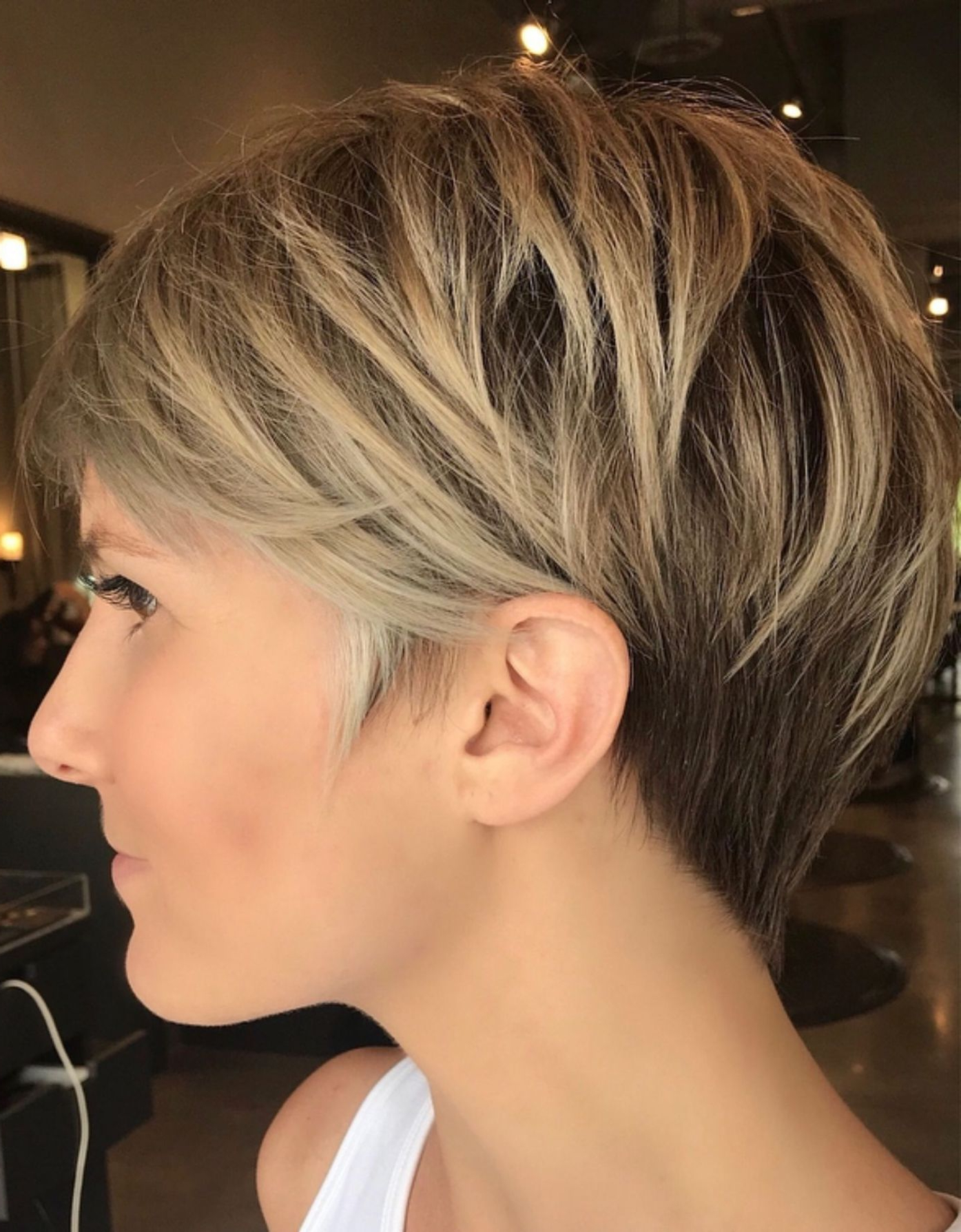 100 Mind Blowing Short Hairstyles For Fine Hair | Hairstyles Within Bronde Balayage Pixie Haircuts With V Cut Nape (View 1 of 20)