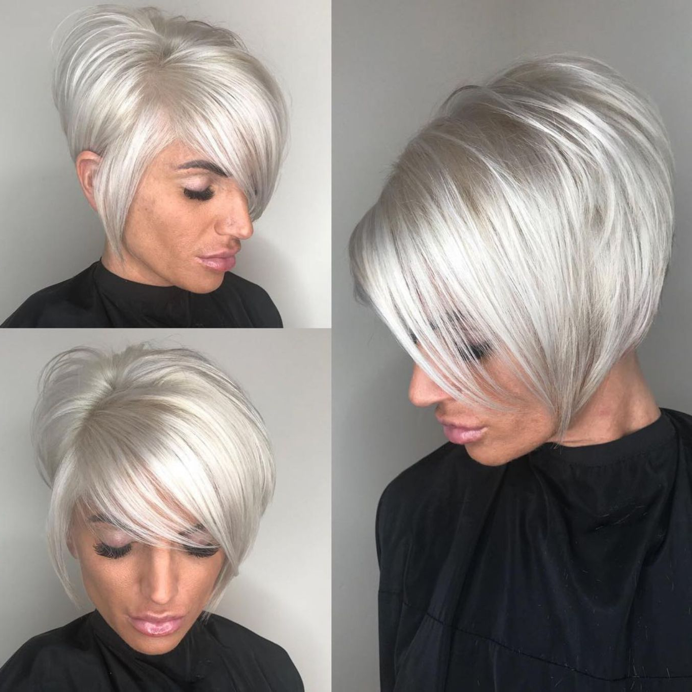 Featured Photo of High Shine Sleek Silver Pixie Bob Haircuts