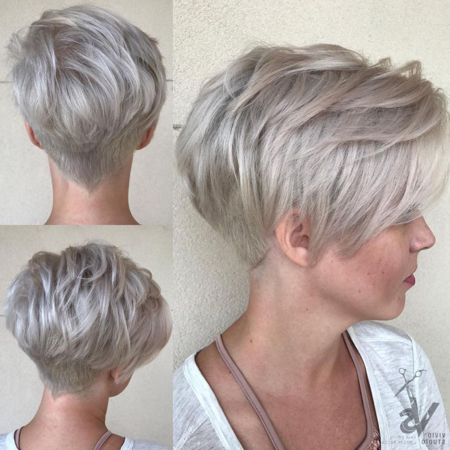 Featured Photo of Bronde Balayage Pixie Haircuts With V Cut Nape
