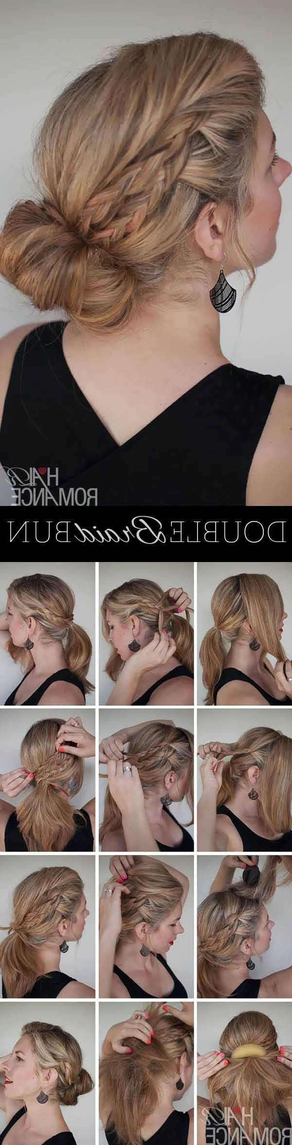14 Amazing Double Braid Bun Hairstyles – Pretty Designs In Current Messy Double Braid Ponytail Hairstyles (View 18 of 20)