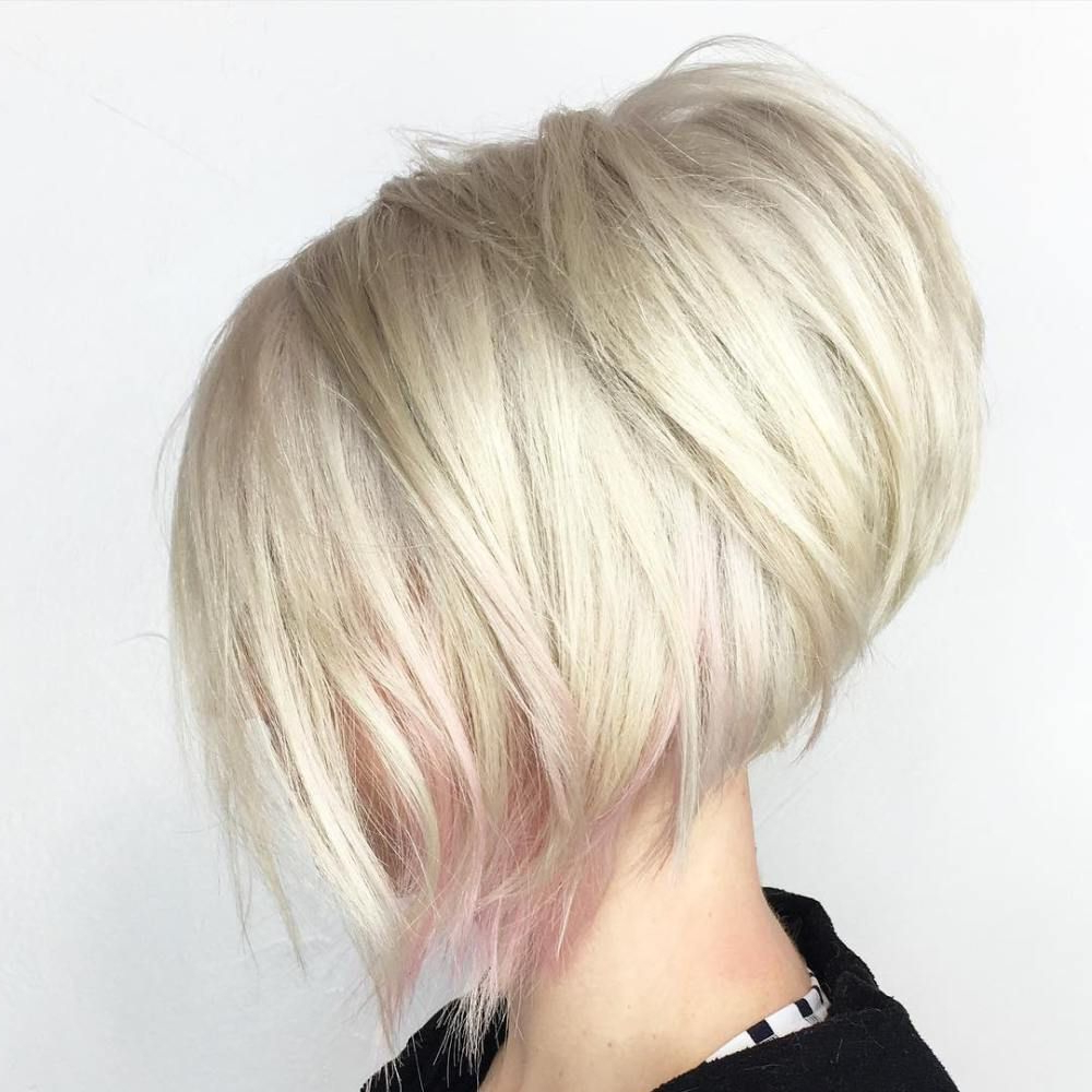 20 Beautiful Blonde Hairstyles To Play Around With | Blonde Bobs Inside Angled Bob Hairstyles For Thick Tresses (View 2 of 20)