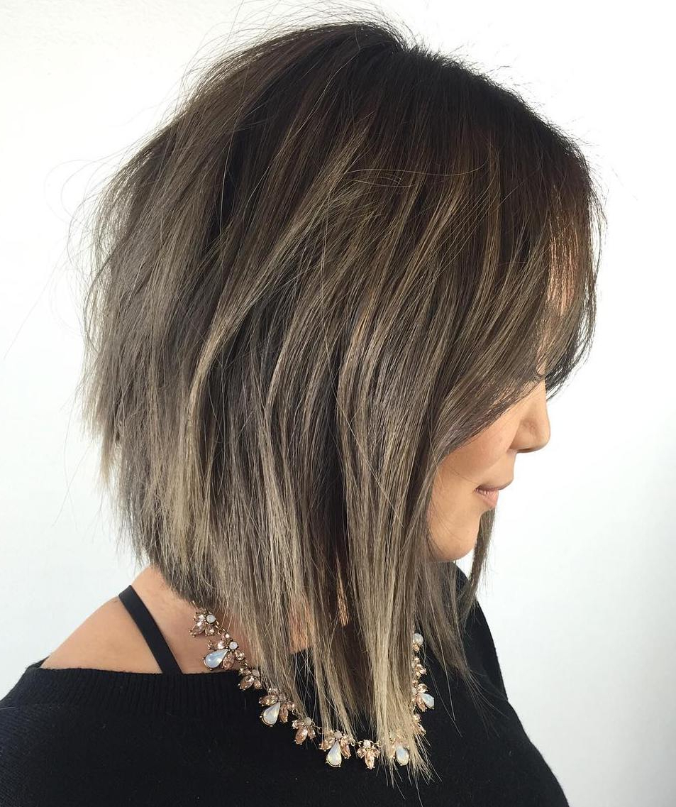 20 Inspiring Long Layered Bob (layered Lob) Hairstyles With Regard To Razored Brown Bob Hairstyles (View 4 of 20)