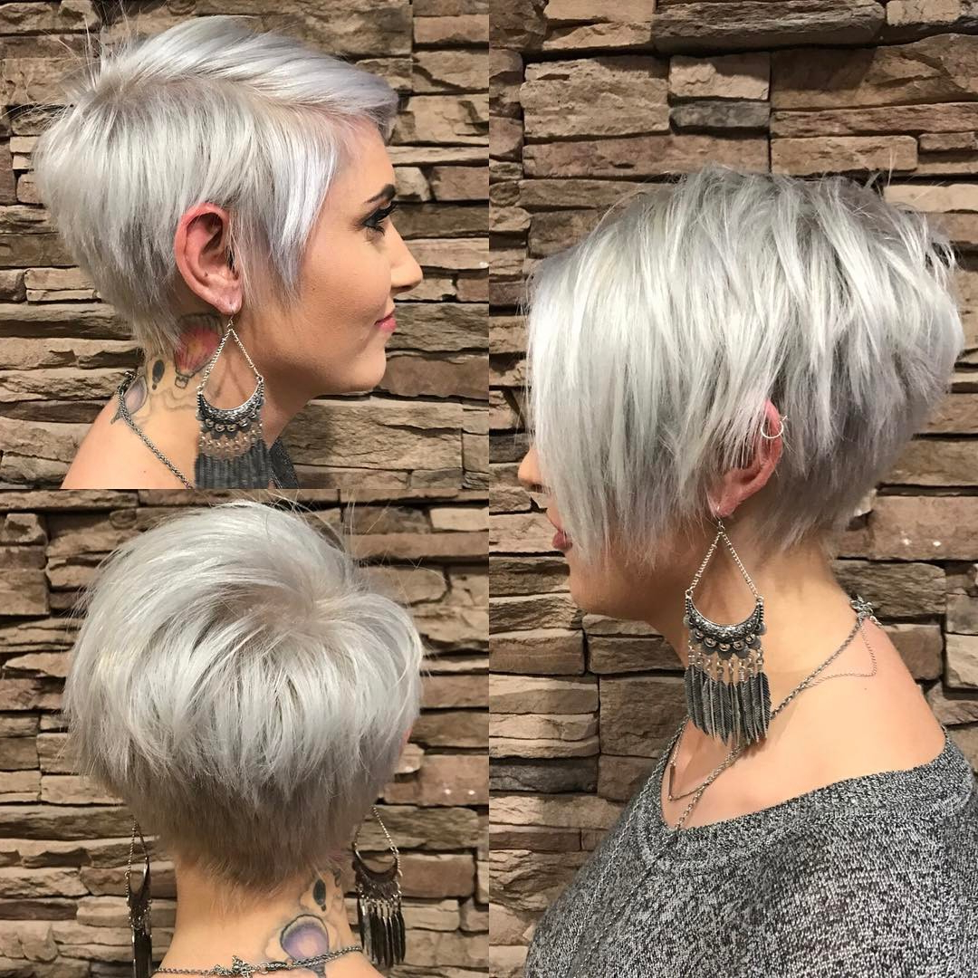 20 Trendy Hair Color Ideas For Women – 2017: Platinum Blonde Hair Ideas In Stacked Sleek White Blonde Bob Haircuts (View 6 of 20)