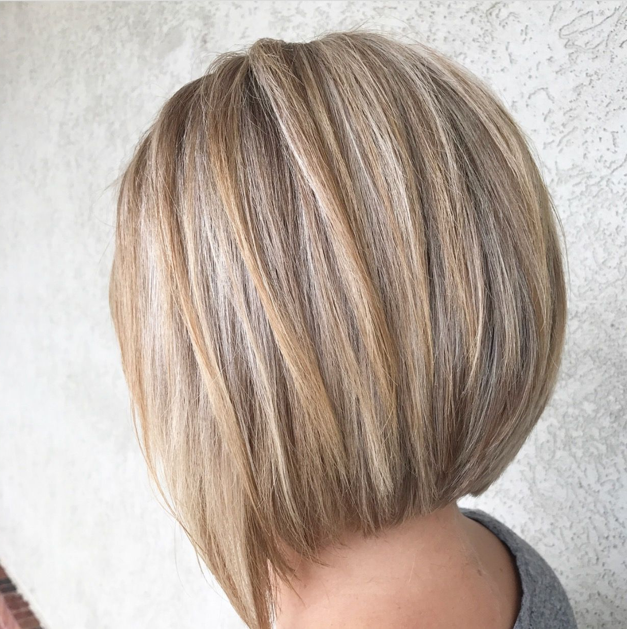 2019 Short Hairstyles With Highlights And Lowlights Fresh A Line Within Short Stacked Bob Hairstyles With Subtle Balayage (View 4 of 20)