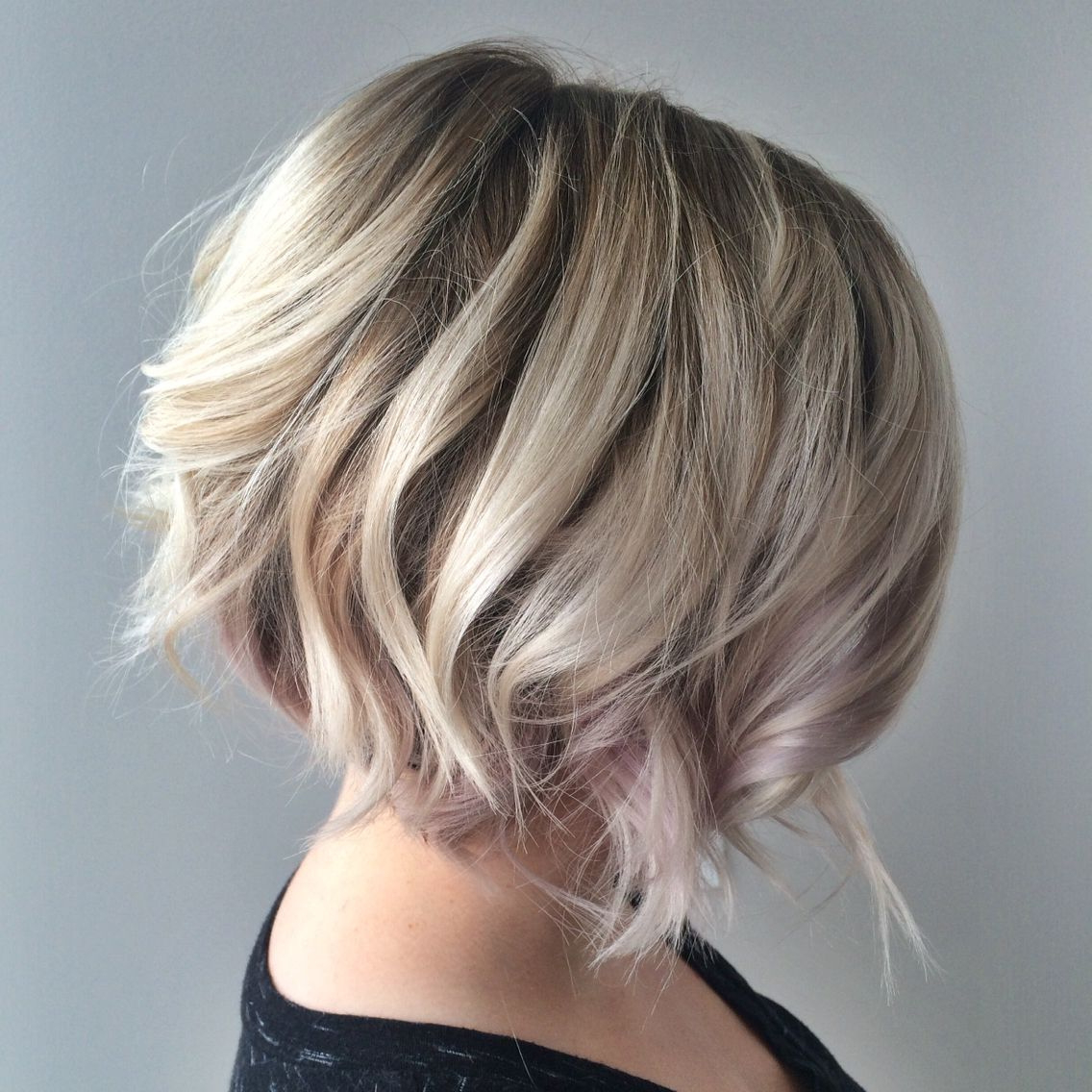 2019 Stacked Bob Hairstyle New Blonde Textured Bob With Undercut Throughout Stacked Blonde Balayage Bob Hairstyles (View 18 of 20)