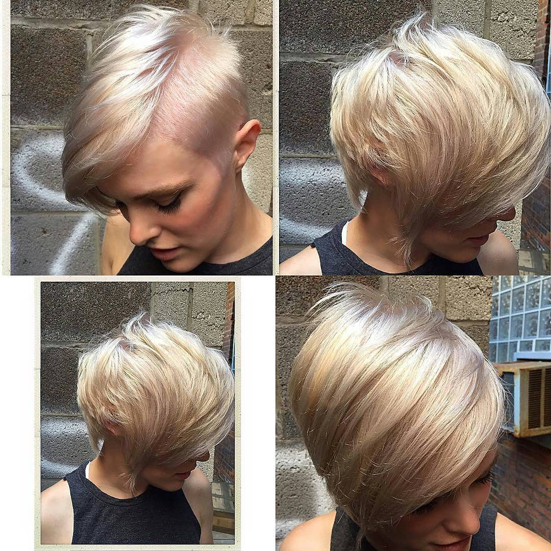 27 Hot Pixie Cuts To Copy In 2018 | Hairstyle Guru In Side Parted White Blonde Pixie Bob Haircuts (View 4 of 20)
