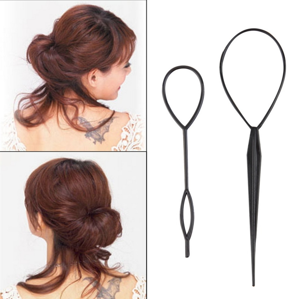 2Pcs Ponytail Creator Plastic Loop Styling Tools Black Topsy Pony With Regard To Well Liked Topsy Tail Low Ponytails (View 4 of 20)