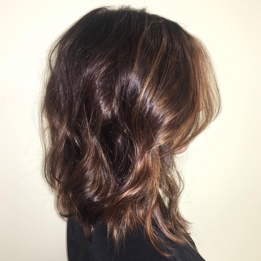 30 Edgy Medium Length Haircuts For Thick Hair [October, 2018] Pertaining To Layered Caramel Brown Bob Hairstyles (View 6 of 20)