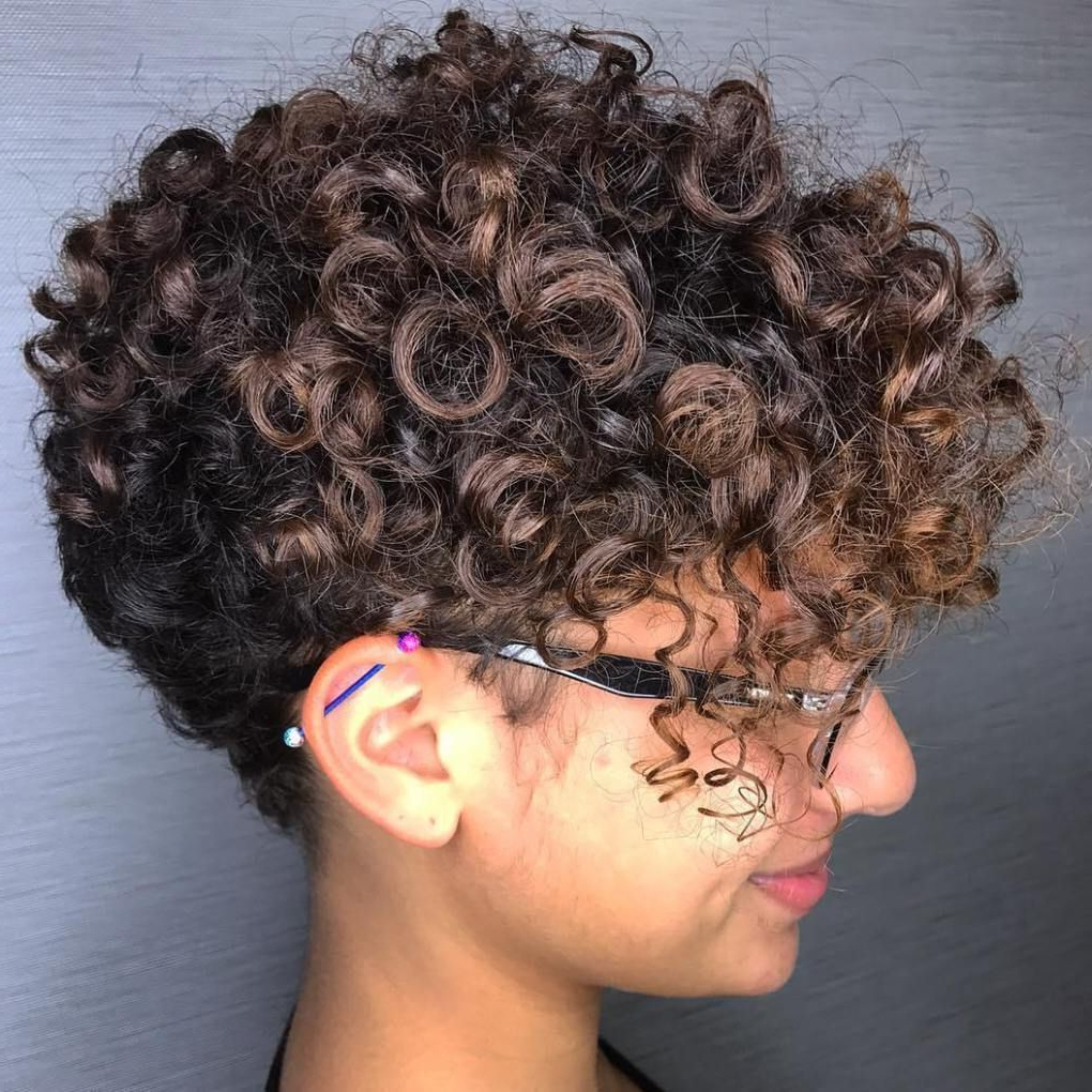 30 Standout Curly And Wavy Pixie Cuts In 2018 | Hair Cuts Within Tapered Brown Pixie Hairstyles With Ginger Curls (View 4 of 20)