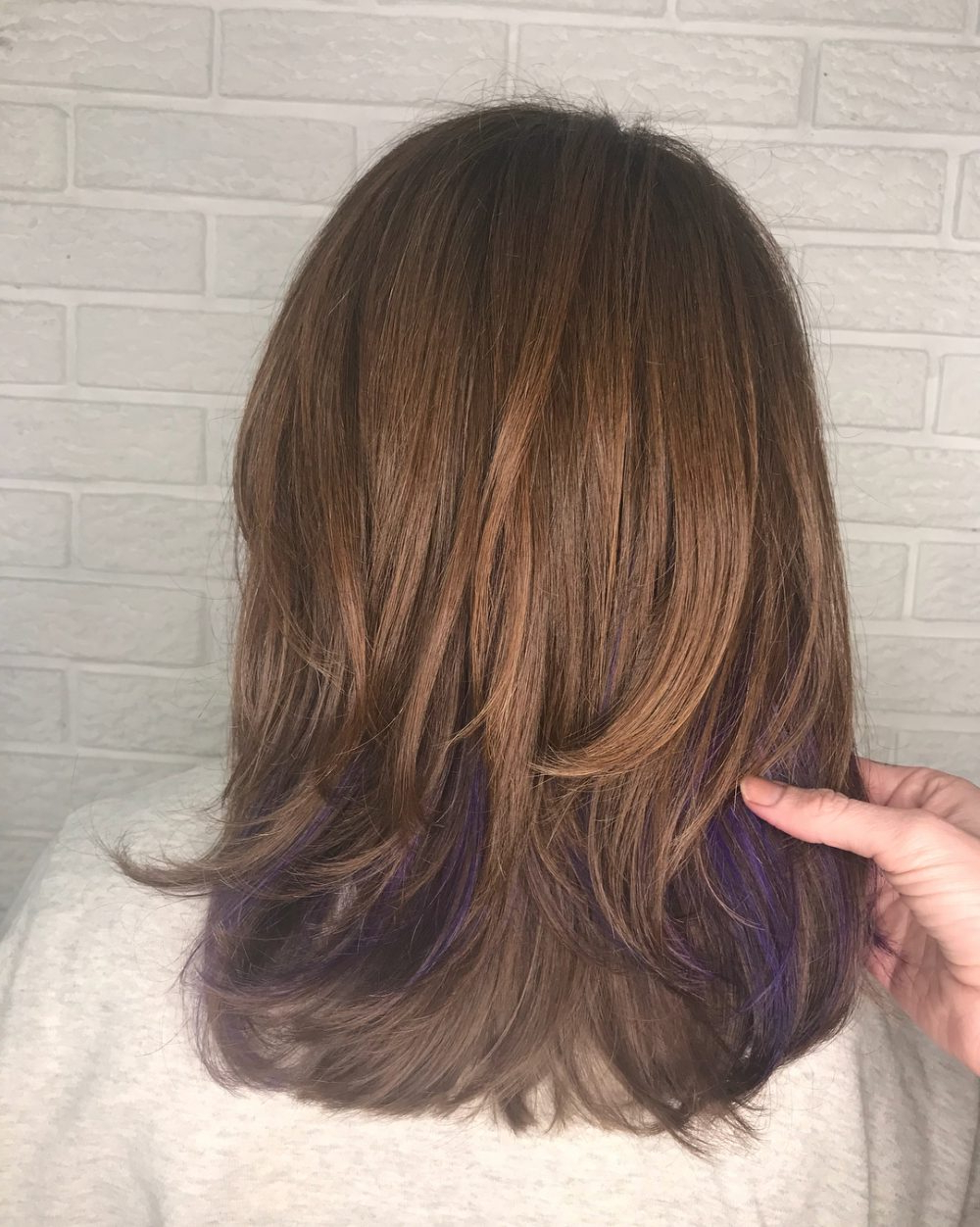 33 Cutest Peekaboo Highlights You'll Ever See In 2018 Intended For Extreme Angled Bob Haircuts With Pink Peek A Boos (View 11 of 20)