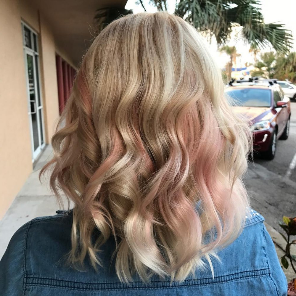 33 Cutest Peekaboo Highlights You'll Ever See In 2018 Regarding Extreme Angled Bob Haircuts With Pink Peek A Boos (View 12 of 20)