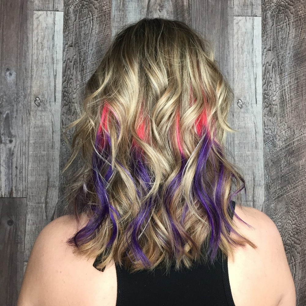 33 Cutest Peekaboo Highlights You'll Ever See In 2018 With Regard To Extreme Angled Bob Haircuts With Pink Peek A Boos (View 17 of 20)