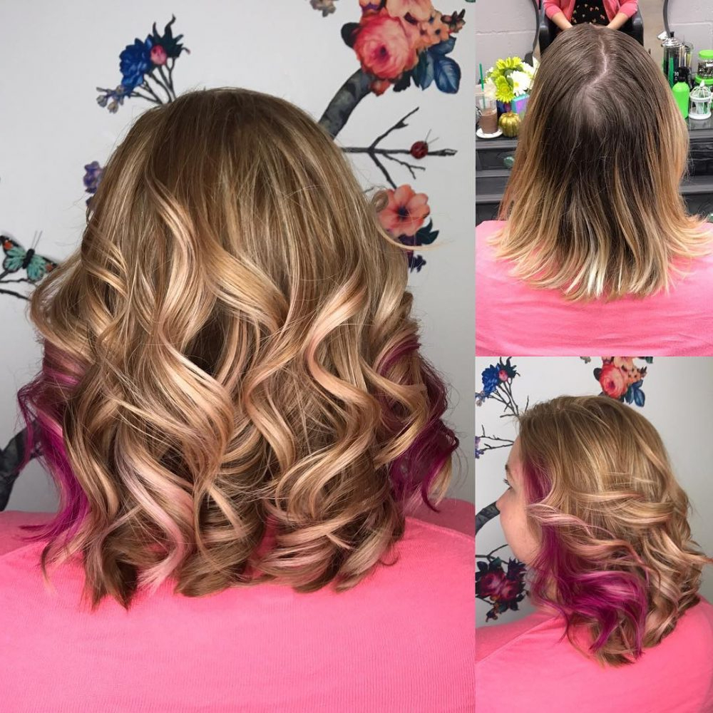 33 Cutest Peekaboo Highlights You'll Ever See In 2018 Within Extreme Angled Bob Haircuts With Pink Peek A Boos (View 13 of 20)