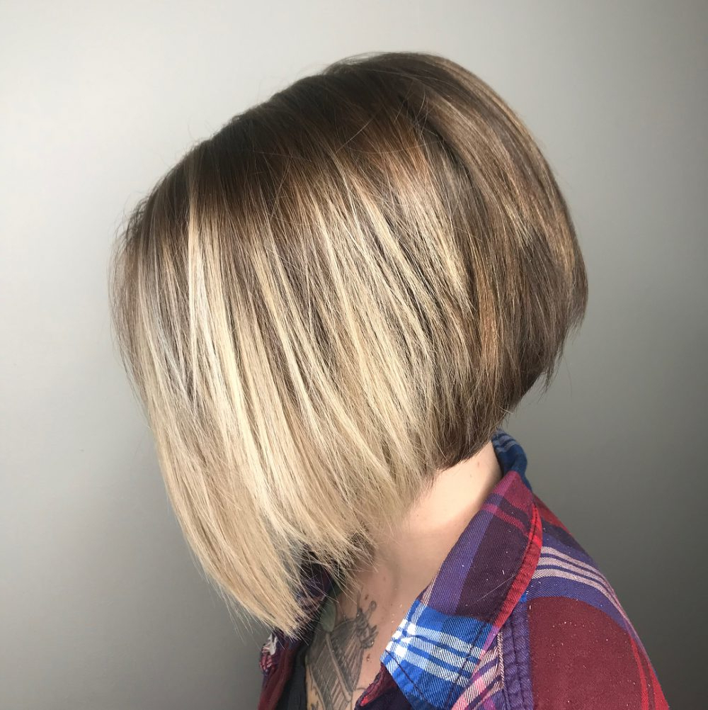 33 Flattering Short Hairstyles For Round Faces In 2018 Intended For Stacked Black Bobhairstyles With Cherry Balayage (View 18 of 20)