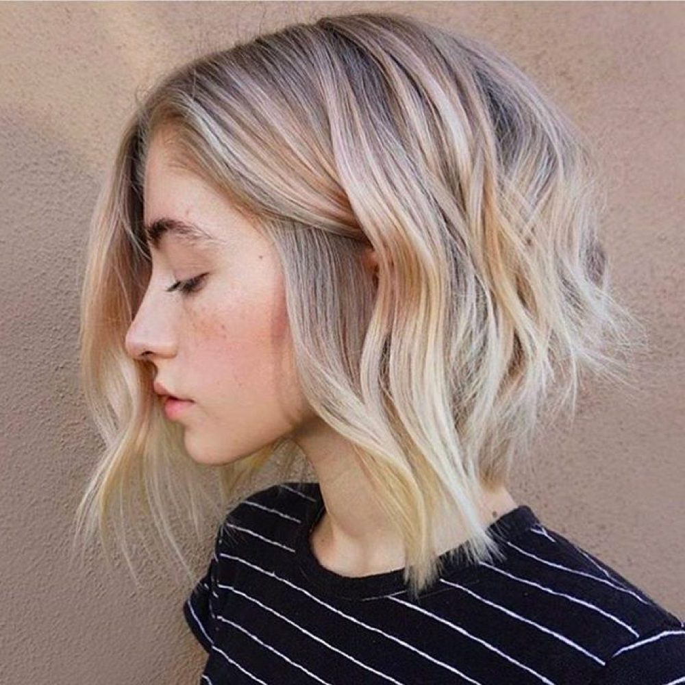 33 Hottest A Line Bob Haircuts You'll Want To Try In 2018 Throughout Angelic Blonde Balayage Bob Hairstyles With Curls (View 6 of 20)