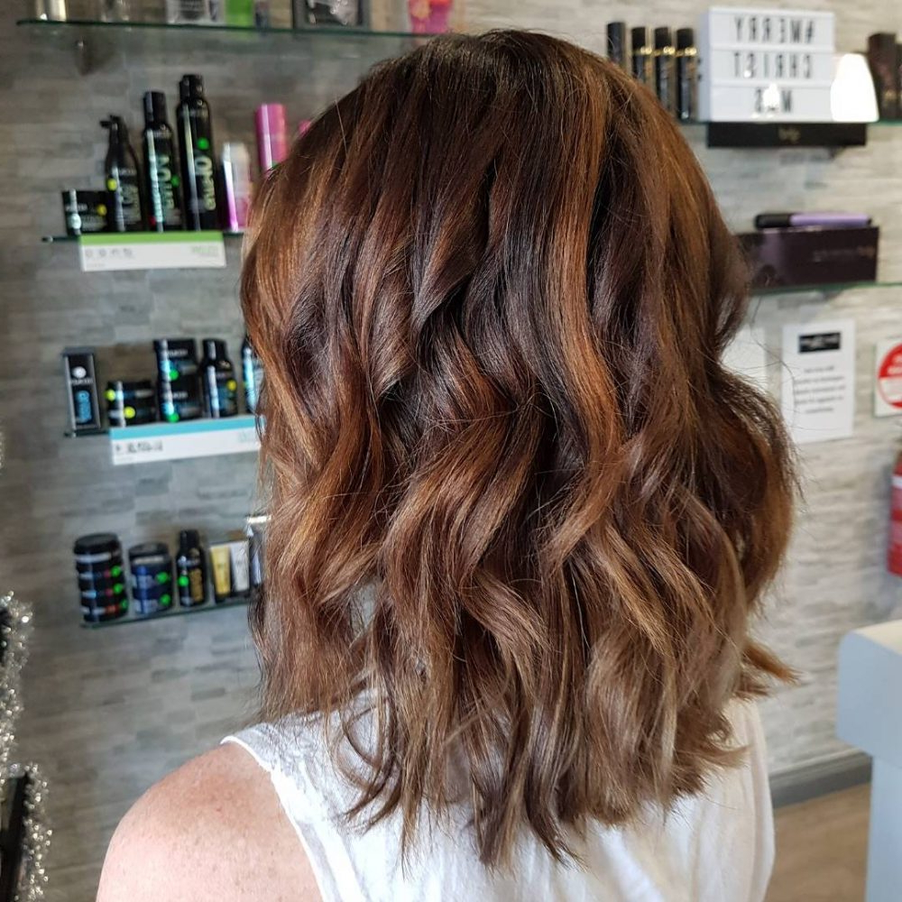 34 Sweetest Caramel Highlights On Light To Dark Brown Hair (2018) For Curly Dark Brown Bob Hairstyles With Partial Balayage (View 6 of 20)