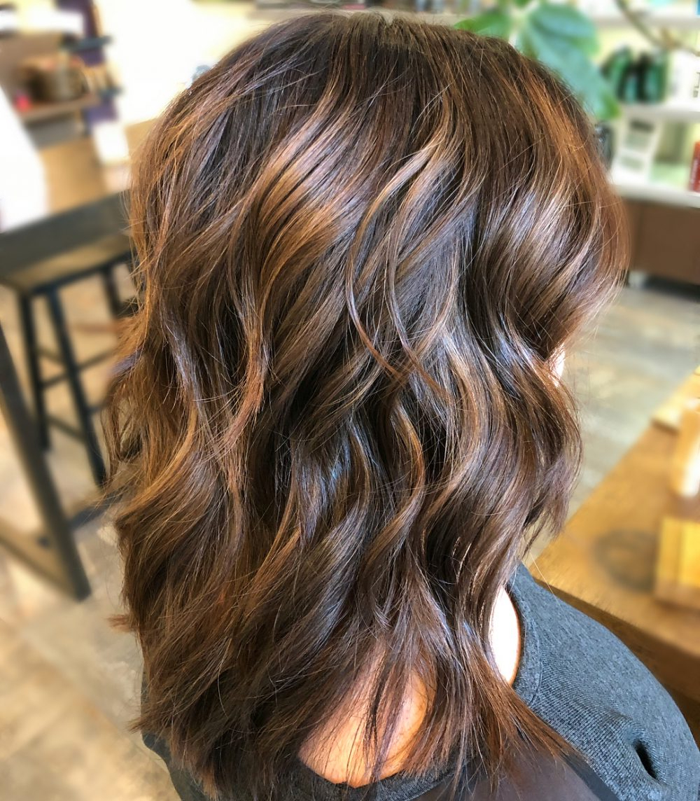 34 Sweetest Caramel Highlights On Light To Dark Brown Hair (2018) Regarding Curly Dark Brown Bob Hairstyles With Partial Balayage (View 14 of 20)