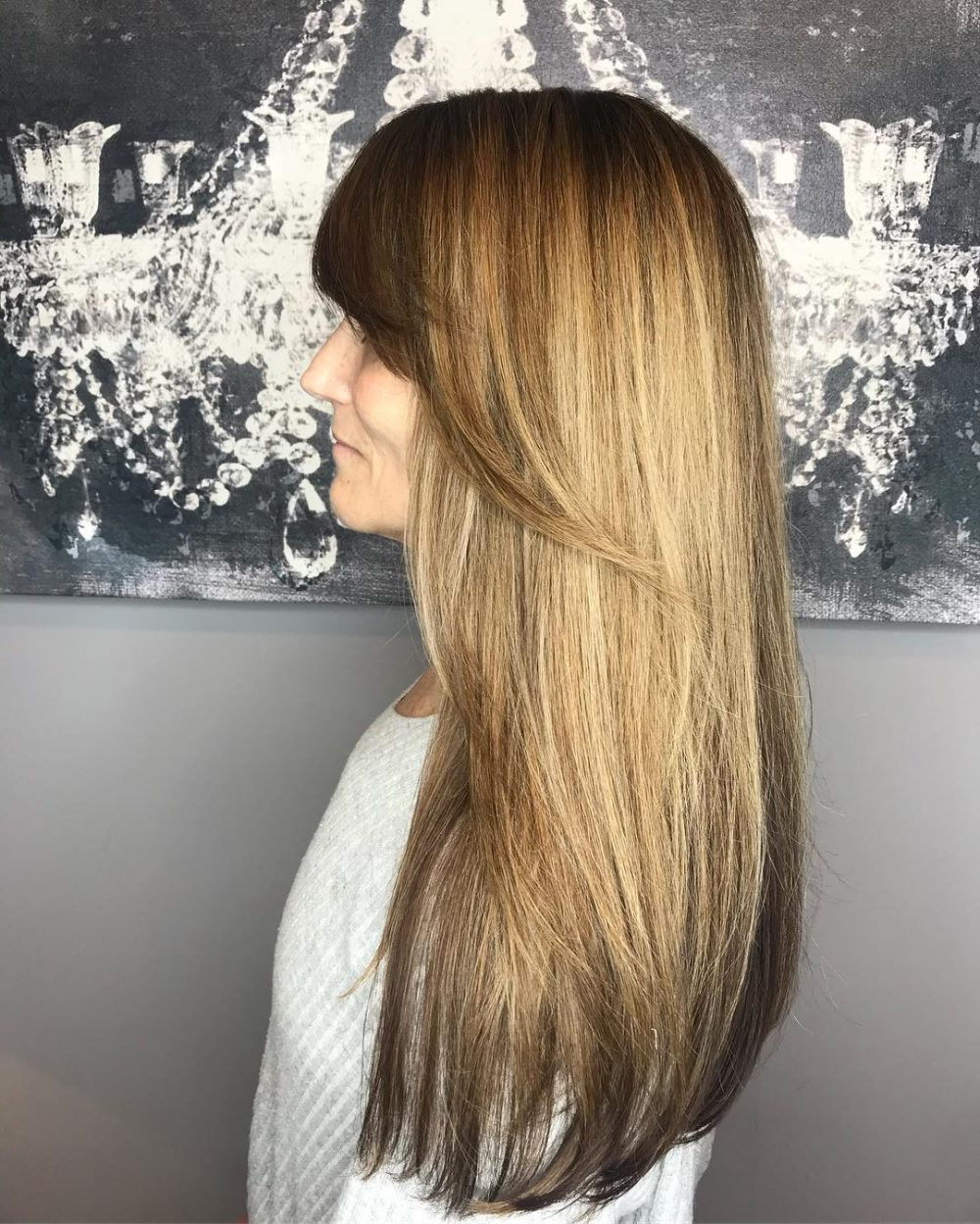 35 Flattering Long Hair With Bangs For Every Face Shape In 2018 Inside Silver Balayage Bob Haircuts With Swoopy Layers (View 19 of 20)