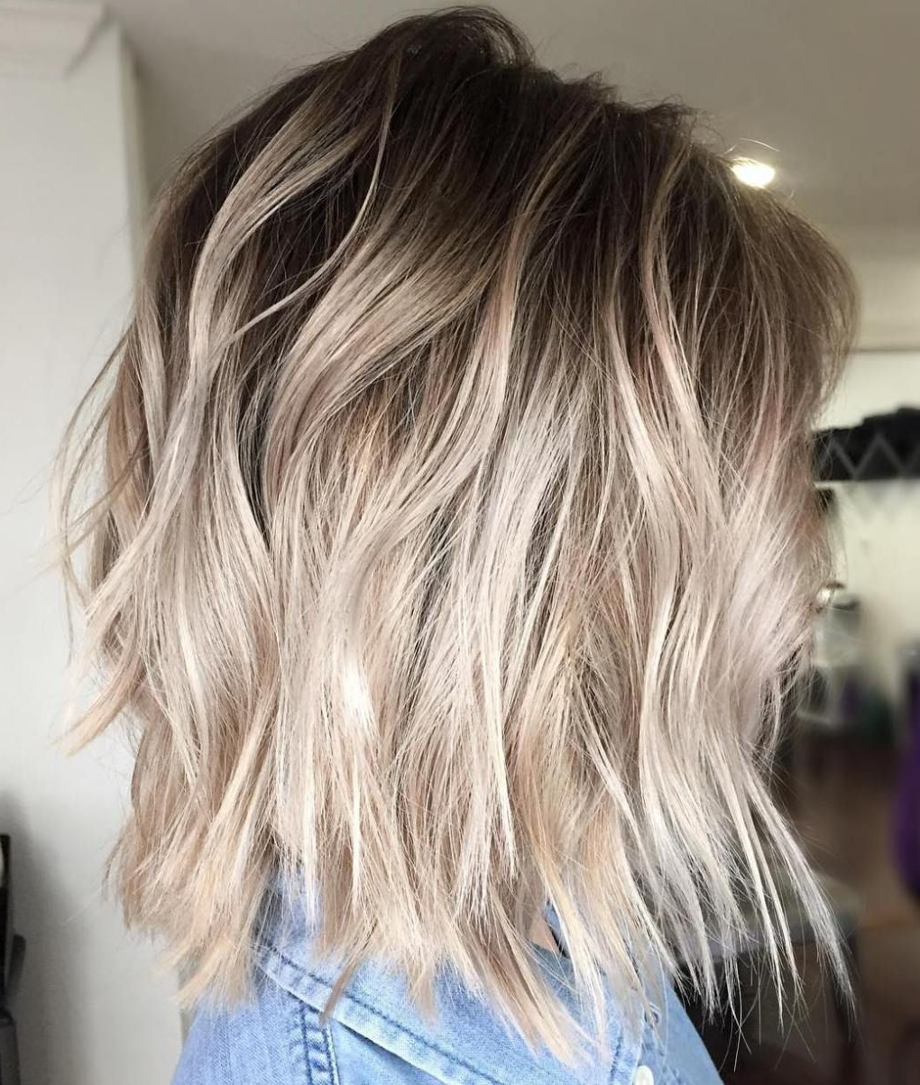 40 Beautiful Blonde Balayage Looks In 2018 | Hair | Pinterest | Hair Throughout White Bob Undercut Hairstyles With Root Fade (View 8 of 20)