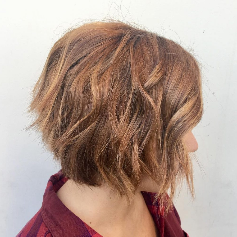 40 Choppy Bob Hairstyles 2019: Best Bob Haircuts For Short, Medium Inside Edgy Brunette Bob Hairstyles With Glossy Waves (View 10 of 20)