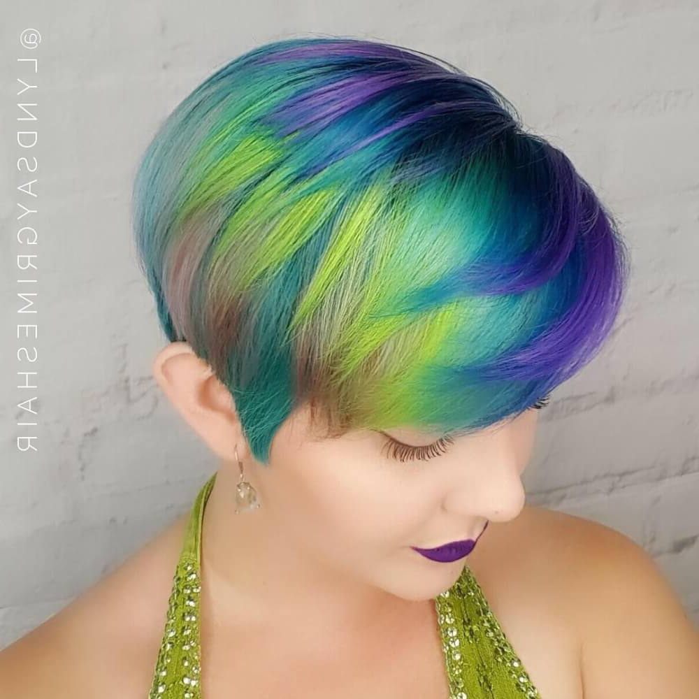 40 Cute Short Haircuts For Short Hair (Updated For 2018) In Edgy Purple Tinted Pixie Haircuts (View 7 of 20)