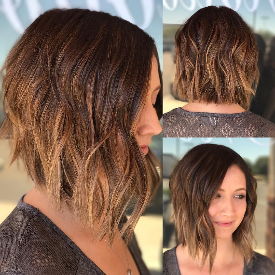 40 Most Flattering Bob Hairstyles For Round Faces 2019 – Hairstyles For Angled Brunette Bob Hairstyles With Messy Curls (View 8 of 20)