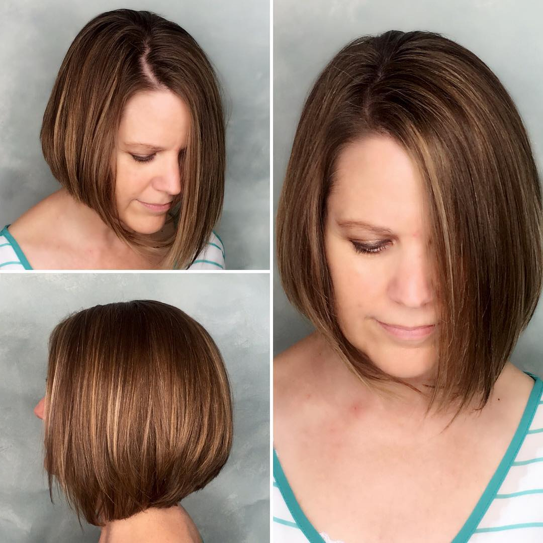 40 Most Flattering Bob Hairstyles For Round Faces 2019 – Hairstyles In Classic Layered Bob Hairstyles For Thick Hair (View 9 of 20)