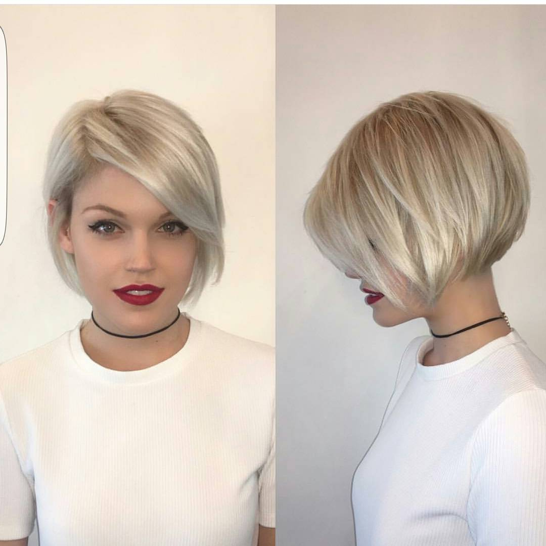 40 Most Flattering Bob Hairstyles For Round Faces 2019 – Hairstyles Throughout Dark Blonde Rounded Jaw Length Bob Haircuts (View 10 of 20)