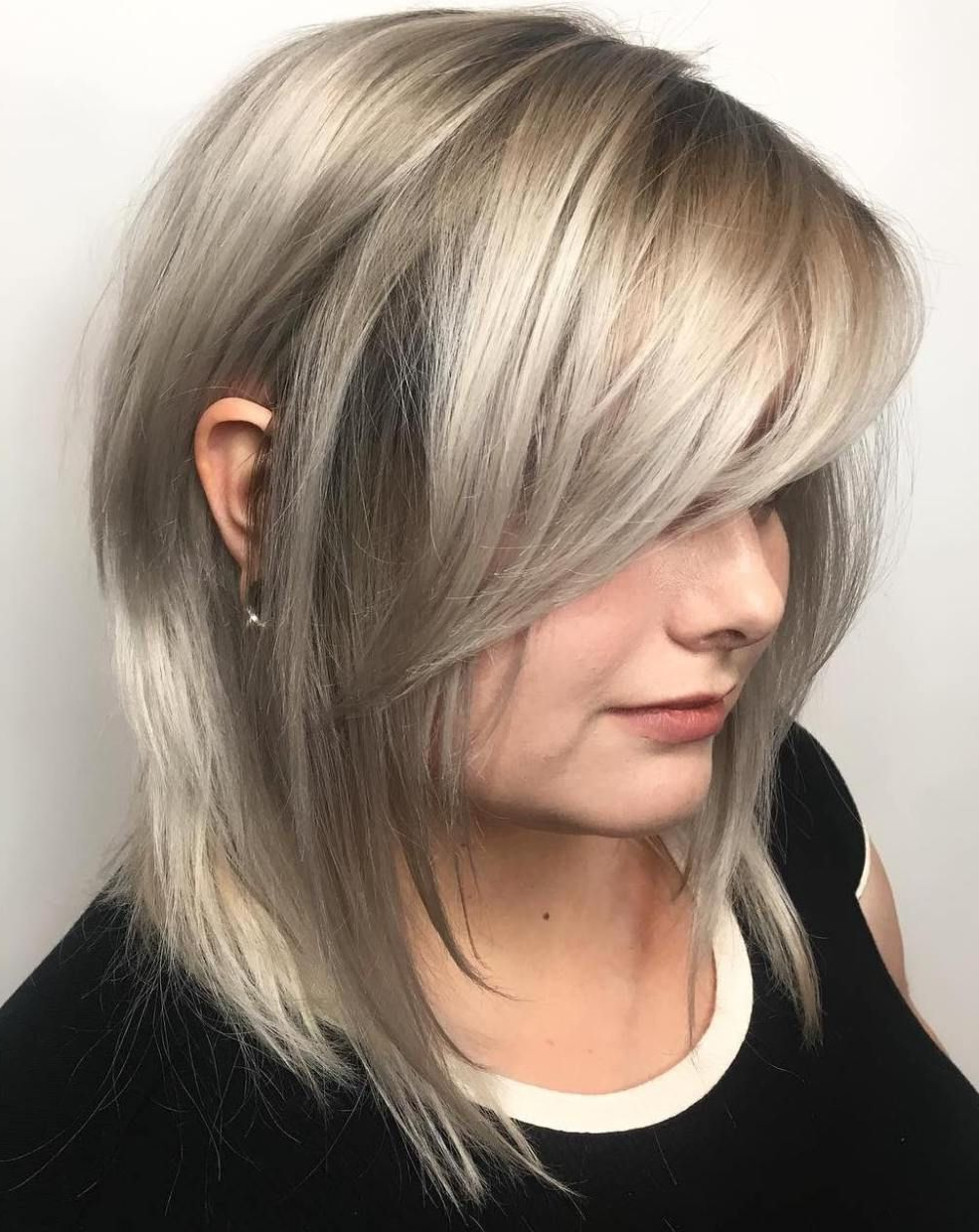 40 Side Swept Bangs To Sweep You Off Your Feet In 2018 | Hair Regarding Layered Bob Hairstyles With Swoopy Side Bangs (View 1 of 20)