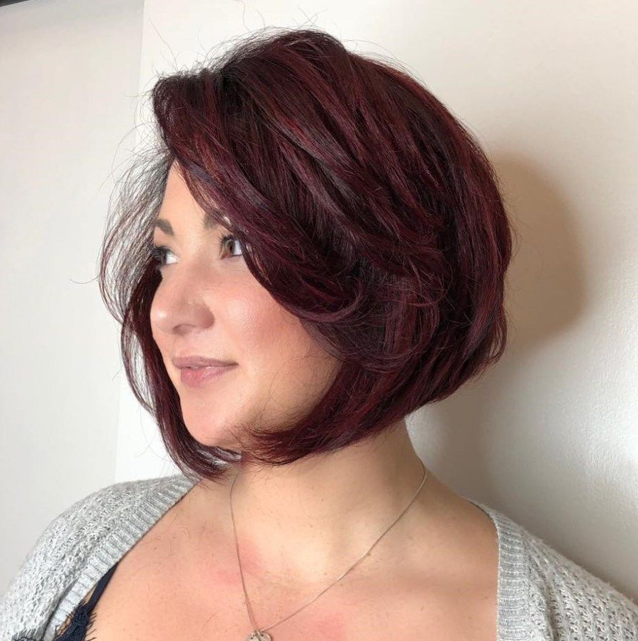 40 Stylish And Sassy Bobs For Round Faces In 2018 | Hairstyles With Angled Burgundy Bob Hairstyles With Voluminous Layers (View 5 of 20)