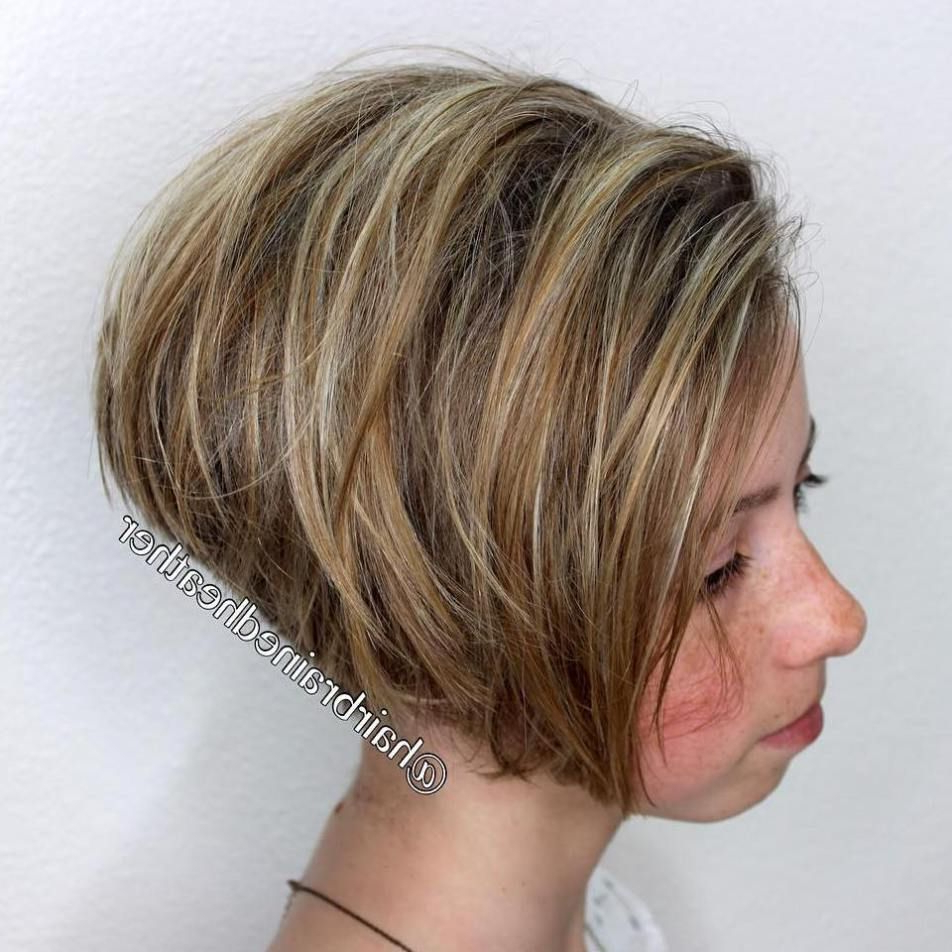 40 Stylish Hairstyles And Haircuts For Teenage Girls | Stylish In Stacked Blonde Balayage Pixie Hairstyles For Brunettes (View 14 of 20)