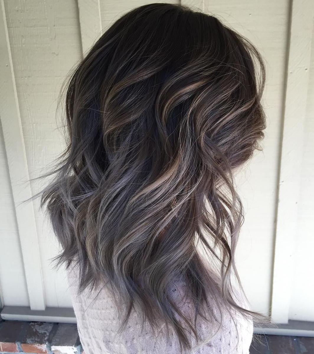 45 Ideas Of Gray And Silver Highlights On Brown Hair Within Silver Balayage Bob Haircuts With Swoopy Layers (View 12 of 20)
