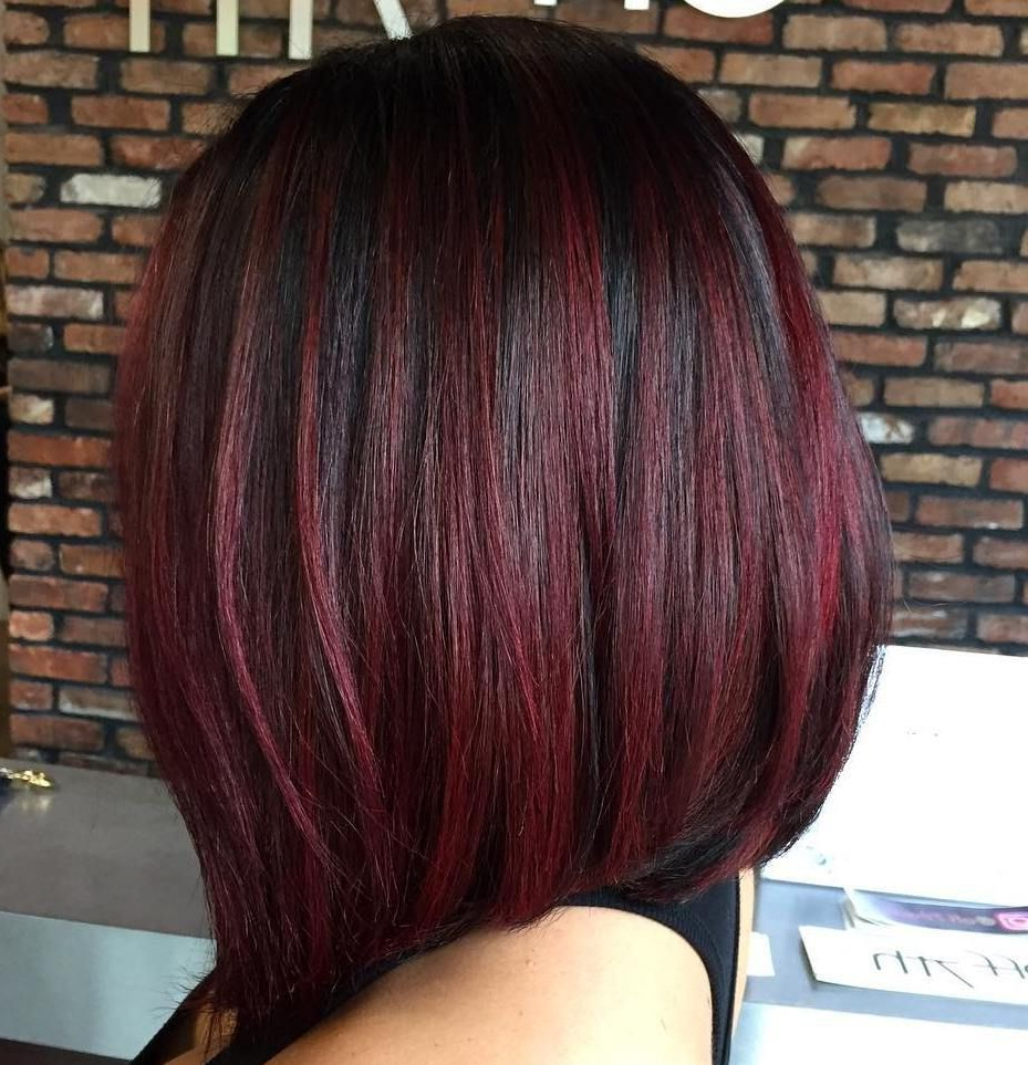 45 Shades Of Burgundy Hair: Dark Burgundy, Maroon, Burgundy With Red Throughout Stacked Black Bobhairstyles  With Cherry Balayage (View 7 of 20)