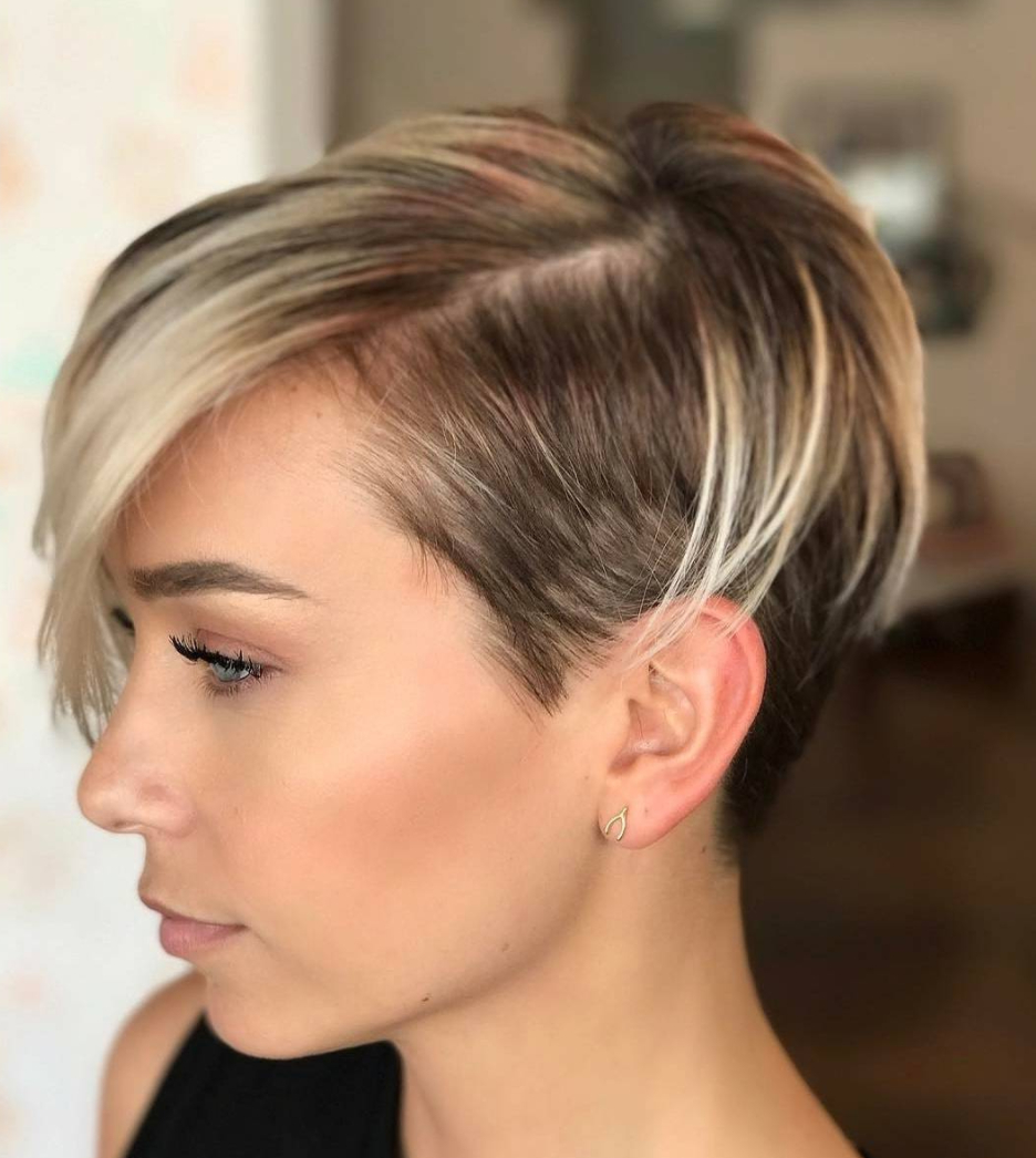45 Sunny And Sophisticated Brown With Blonde Highlight Looks In Black And Ash Blonde Pixie Bob Hairstyles (View 9 of 20)