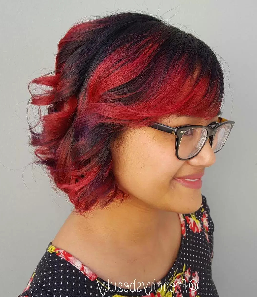 50 Classy Short Bobs With Bangs | Page 12 Throughout Stacked Black Bobhairstyles  With Cherry Balayage (Gallery 10 of 20)