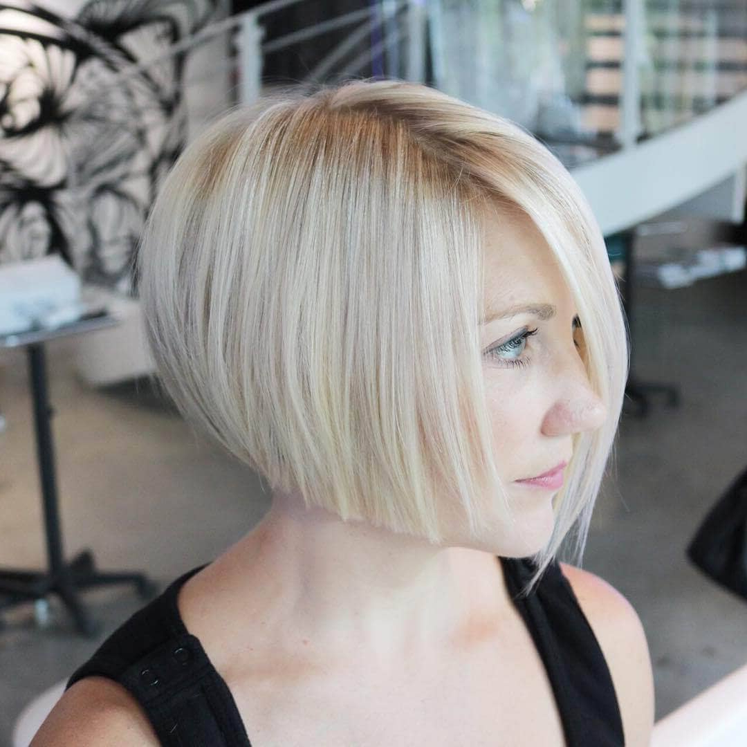 50 Fresh Short Blonde Hair Ideas To Update Your Style In 2018 For Angled Burgundy Bob Hairstyles With Voluminous Layers (View 15 of 20)