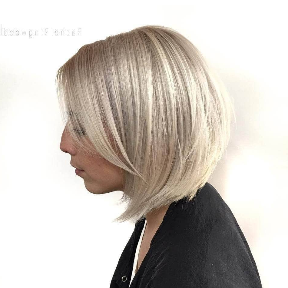 50 Fresh Short Blonde Hair Ideas To Update Your Style In 2018 Inside Angled Burgundy Bob Hairstyles With Voluminous Layers (View 17 of 20)