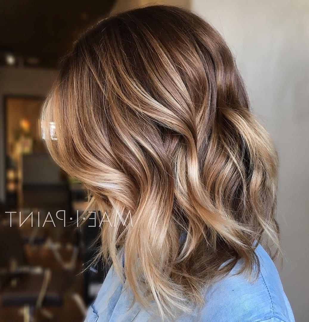 50 Ideas For Light Brown Hair With Highlights And Lowlights In 2018 For Curly Dark Brown Bob Hairstyles With Partial Balayage (View 10 of 20)