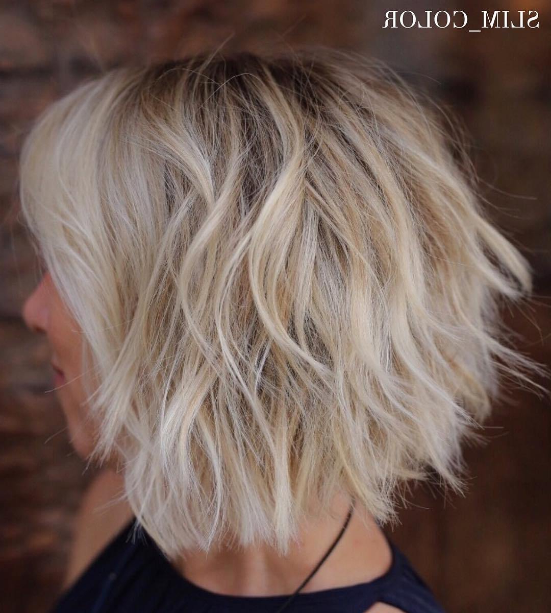 50 Messy Bob Hairstyles For Your Trendy Casual Looks – Fallbrook247 Regarding Inverted Brunette Bob Hairstyles With Feathered Highlights (View 9 of 20)