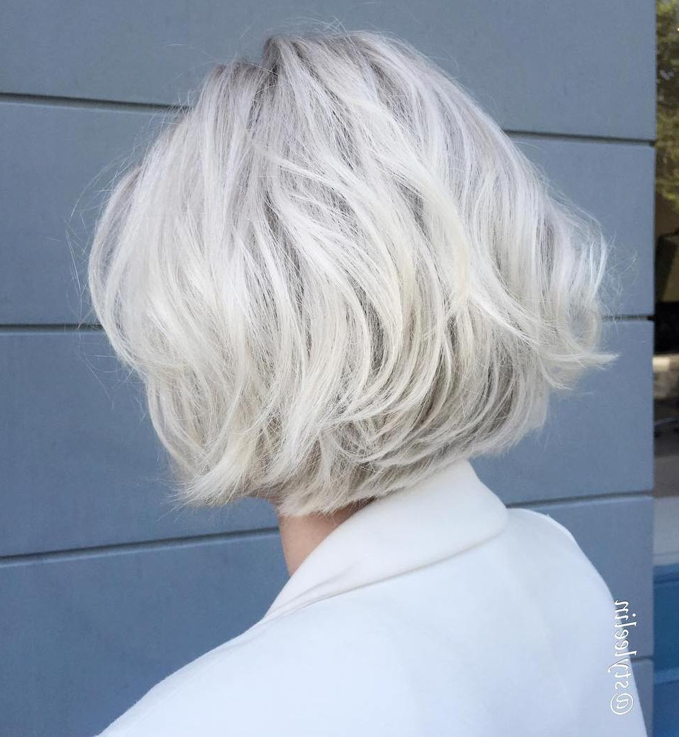 50 Trendiest Short Blonde Hairstyles And Haircuts In Silver Balayage Bob Haircuts With Swoopy Layers (View 7 of 20)