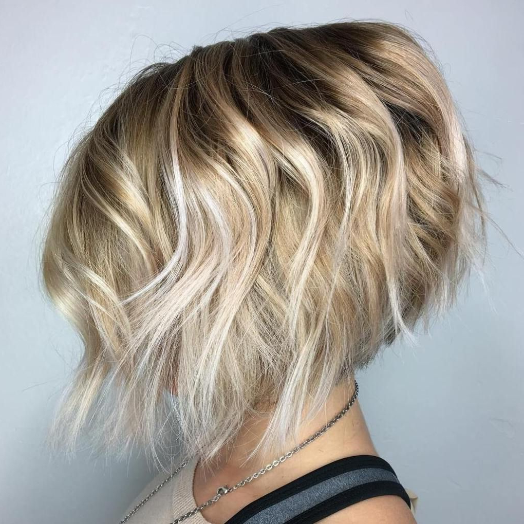 50 Trendy Inverted Bob Haircuts | Blonde Balayage, Balayage And Bobs With Regard To Short Wavy Blonde Balayage Bob Hairstyles (View 10 of 20)