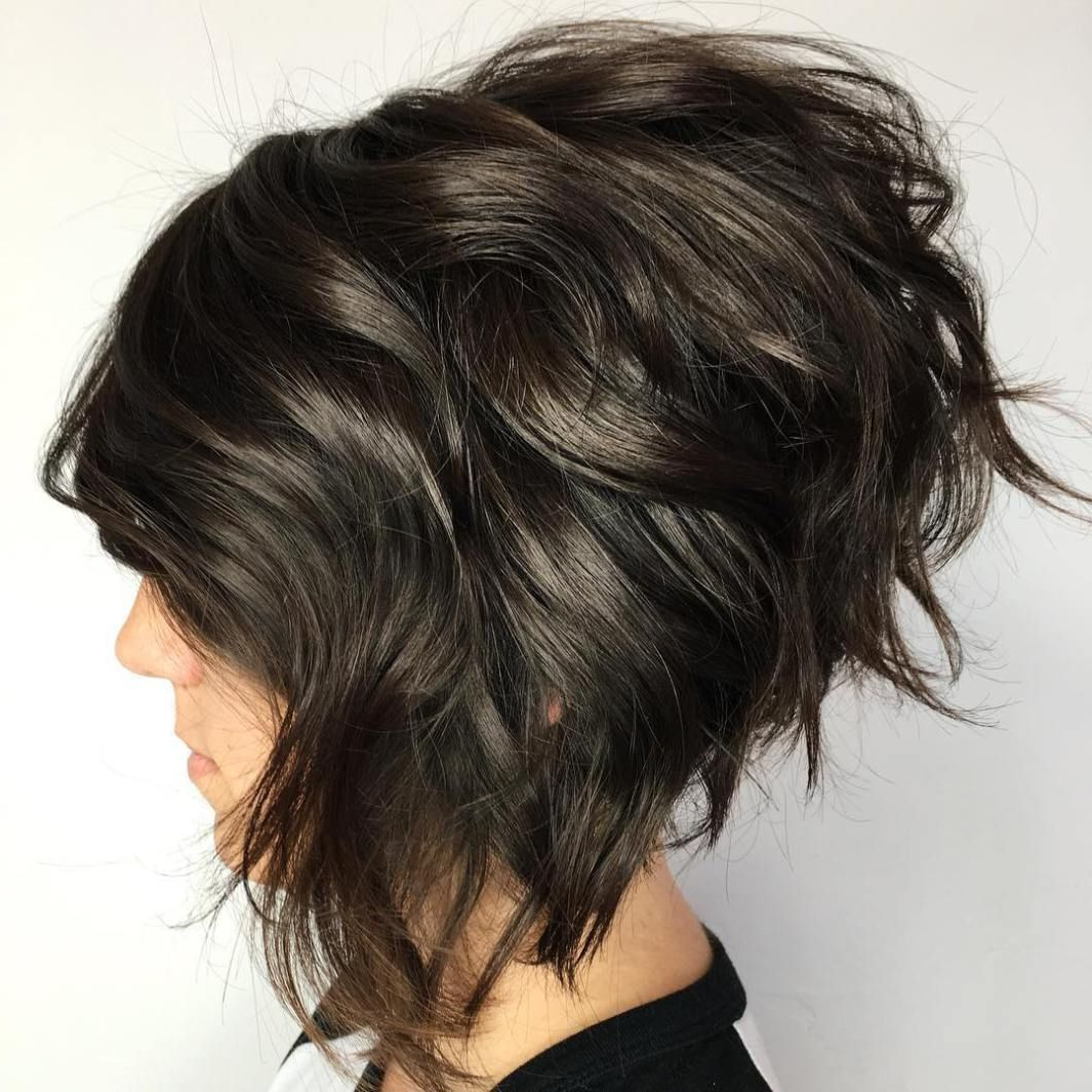 50 Trendy Inverted Bob Haircuts | Dark Brown, Bobs And Dark Inside Edgy Brunette Bob Hairstyles With Glossy Waves (View 3 of 20)