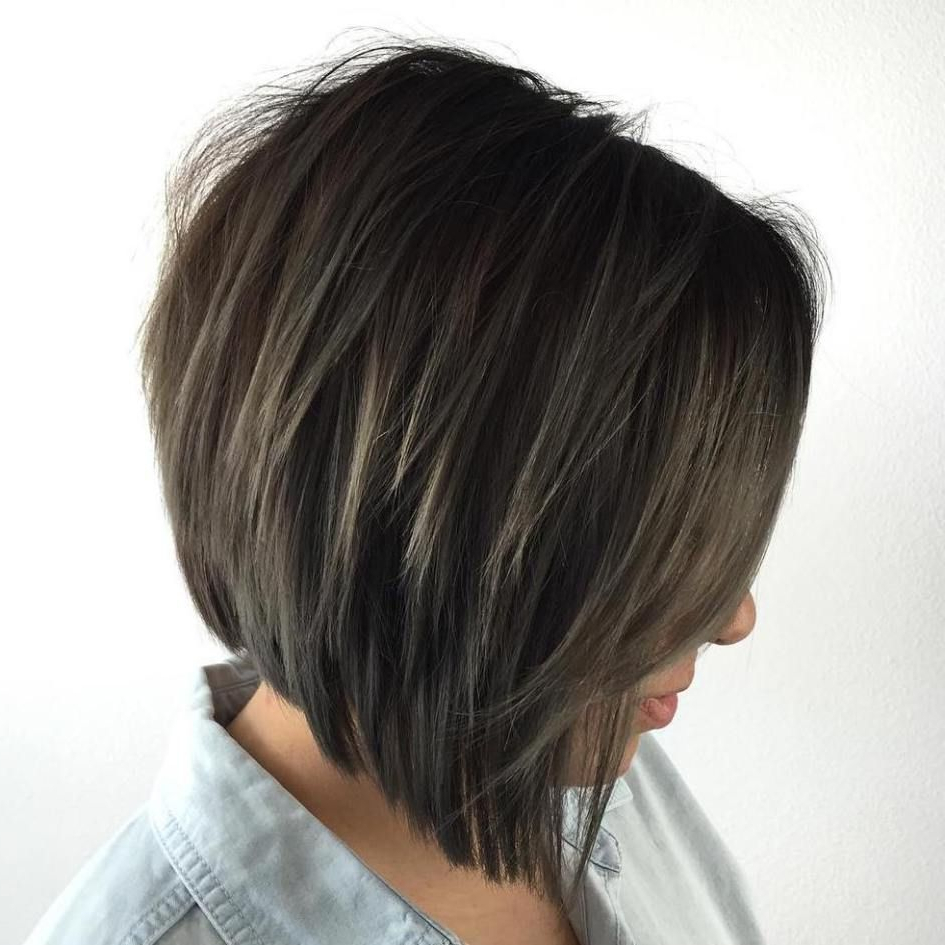 50 Trendy Inverted Bob Haircuts In 2018 | Hair Cut Styles And Colors Inside Inverted Brunette Bob Hairstyles With Feathered Highlights (View 10 of 20)