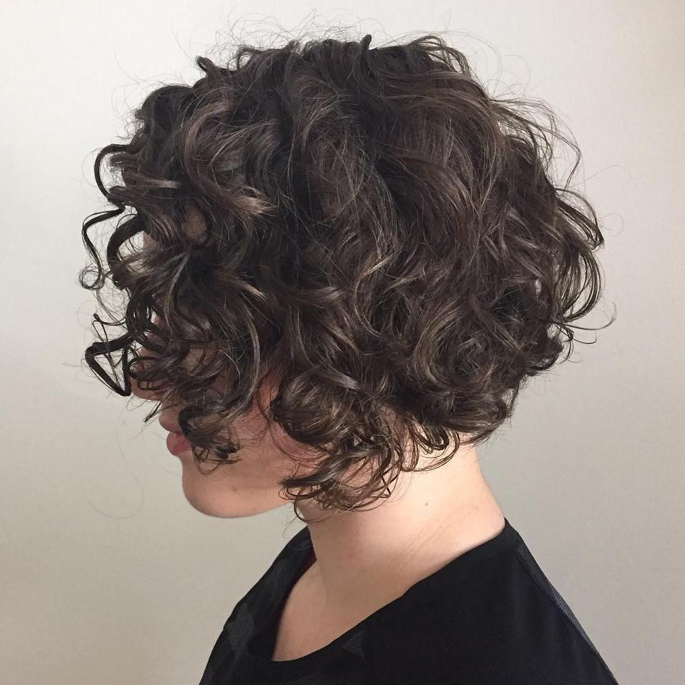 Featured Photo of Scrunched Curly Brunette Bob Hairstyles