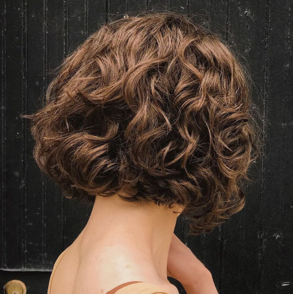 55 Different Versions Of Curly Bob Hairstyle In 2018 | Hairstyles Pertaining To Scrunched Curly Brunette Bob Hairstyles (View 15 of 20)
