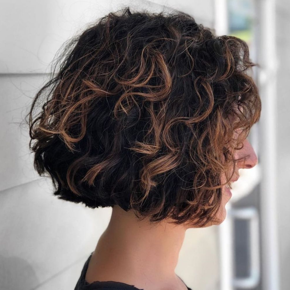 55 Different Versions Of Curly Bob Hairstyle | Shorts | Pinterest Pertaining To Scrunched Curly Brunette Bob Hairstyles (View 12 of 20)