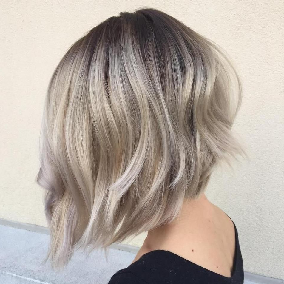 60 Beautiful And Convenient Medium Bob Hairstyles In 2018 | Shauna With Regard To Silver Balayage Bob Haircuts With Swoopy Layers (View 10 of 20)