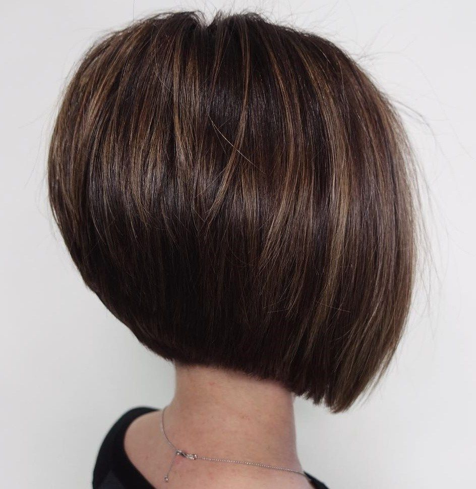 60 Best Short Bob Haircuts And Hairstyles For Women In 2018 | Hair For Inverted Brunette Bob Hairstyles With Feathered Highlights (View 11 of 20)