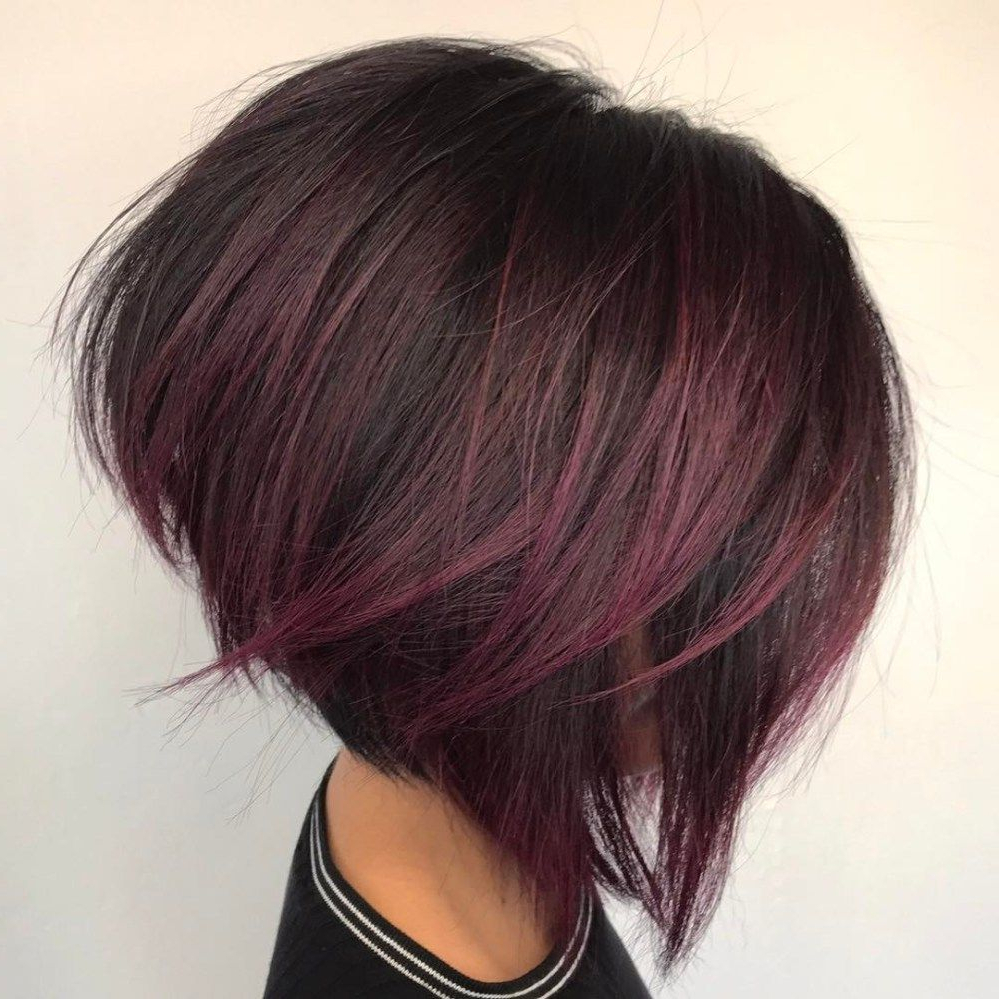 Featured Photo of Angled Burgundy Bob Hairstyles With Voluminous Layers