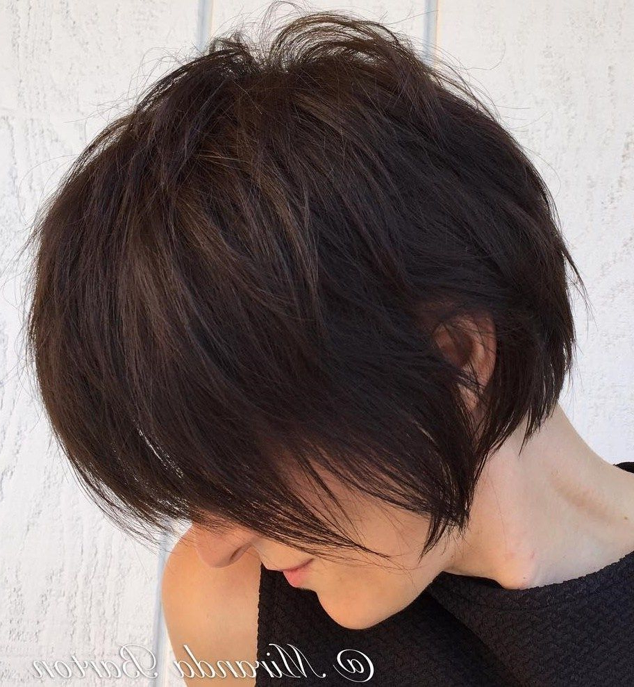 60 Classy Short Haircuts And Hairstyles For Thick Hair | Hair Intended For Long Feathered Espresso Brown Pixie Hairstyles (View 7 of 20)
